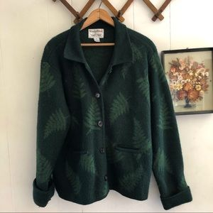Vintage Wool Fern Knit Cardigan